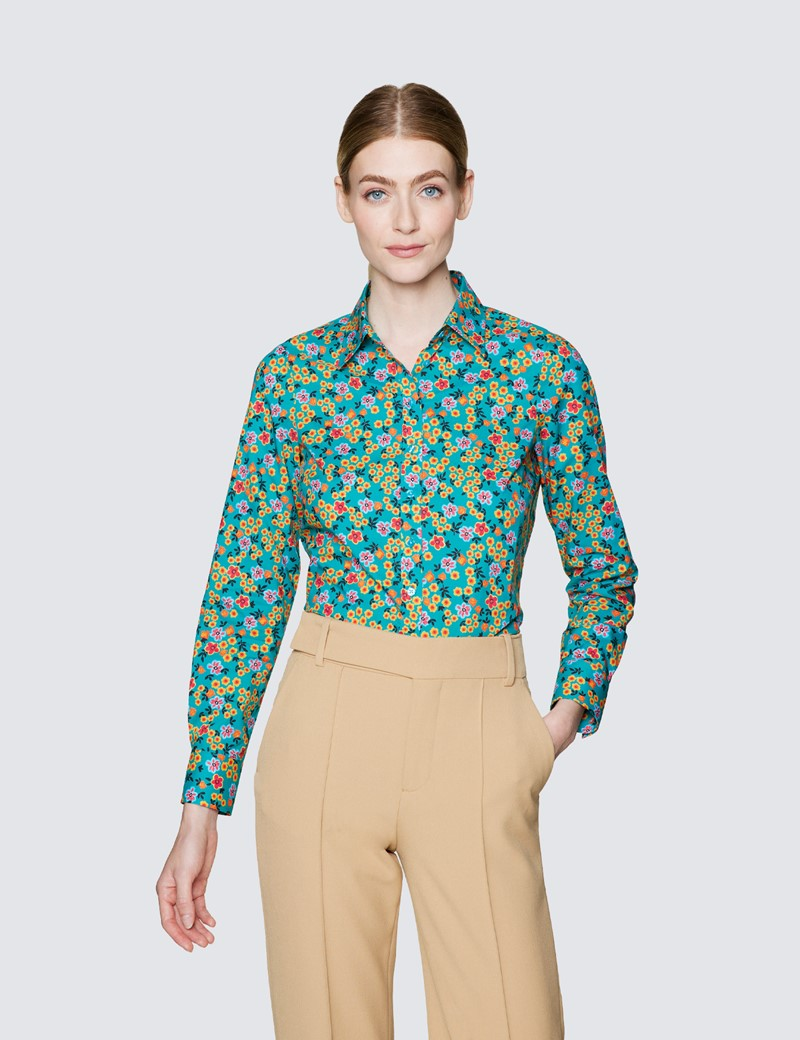 Ladies Green and Orange Semi Fitted Cotton Shirt