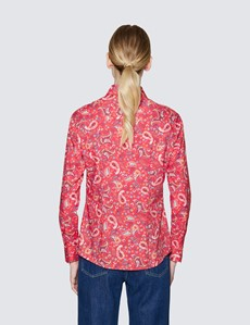 Women's Red & Pink Semi Fitted Cotton Shirt