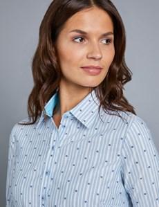 Bluse – Regular Fit – Baumwolle – Feine Streifen hellblau & weiß