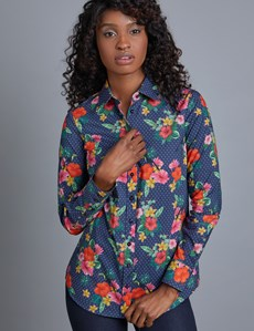 Women's Tropical Semi Fitted Shirt - Single Cuff