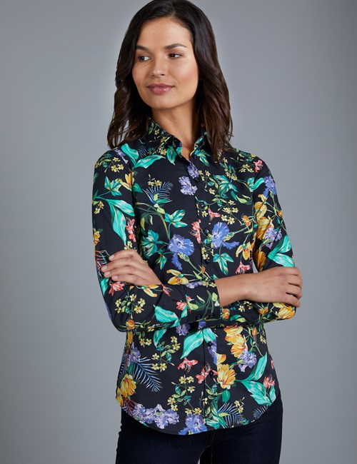Women's Black & Yellow Floral Semi Fitted Shirt - Single Cuff