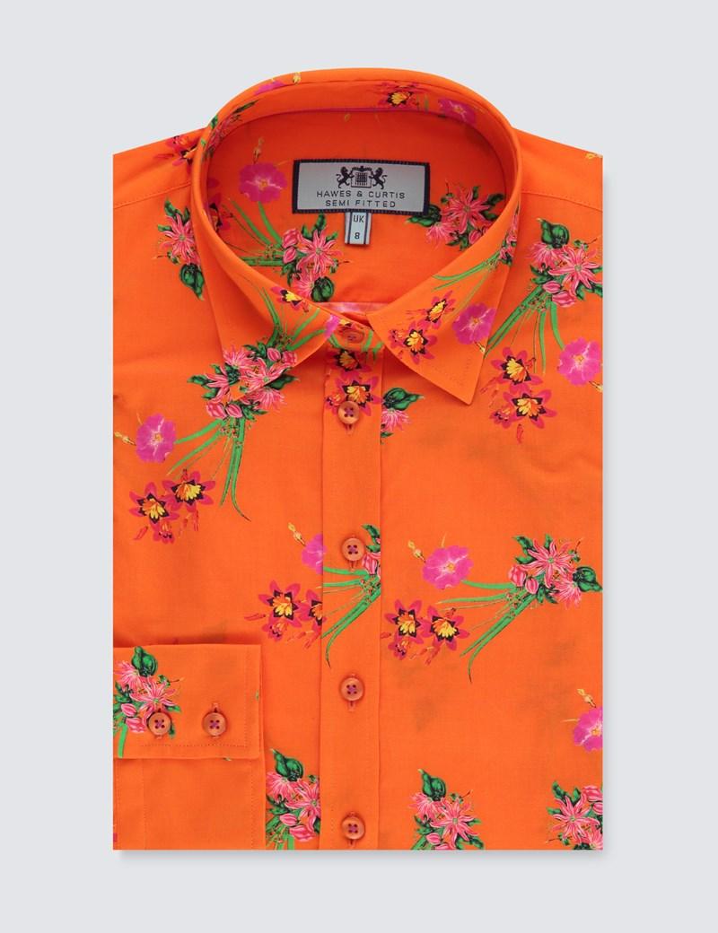 Women's Orange Floral Semi Fitted Shirt - Single Cuff