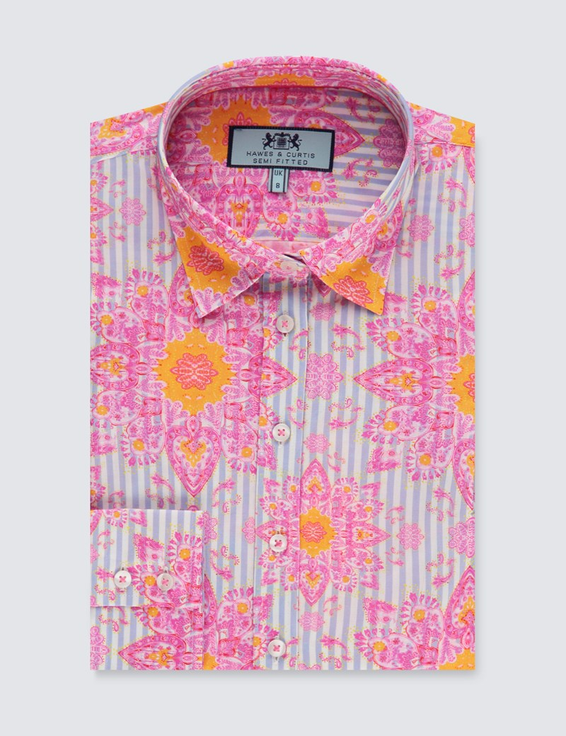 Women's Blue & Pink Paisley Semi Fitted Shirt - Single Cuff