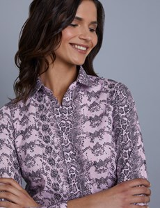 Women's Pink & Black Snakeskin Print Semi Fitted Shirt - Single Cuff