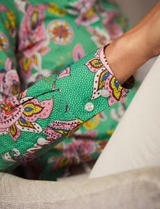 Women's Green & Pink Paisley Spot Print Semi Fitted Shirt - Single Cuff