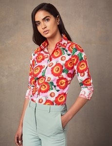 Women's Red & Pink Floral Semi Fitted Shirt - Single Cuff