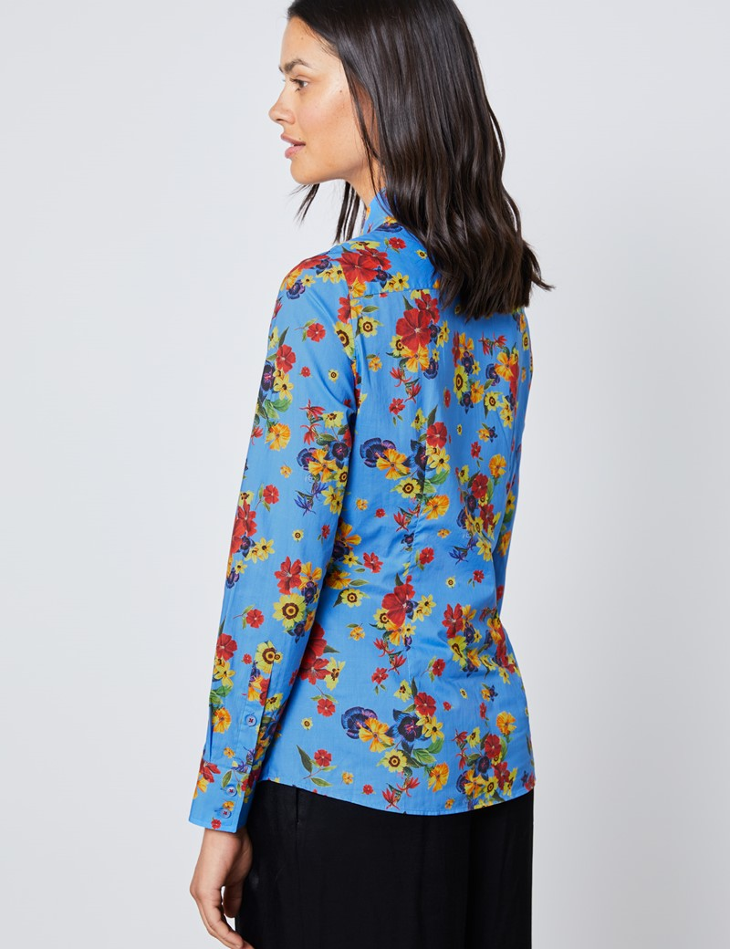 Women's Blue & Red Floral Semi Fitted Shirt - Single Cuff