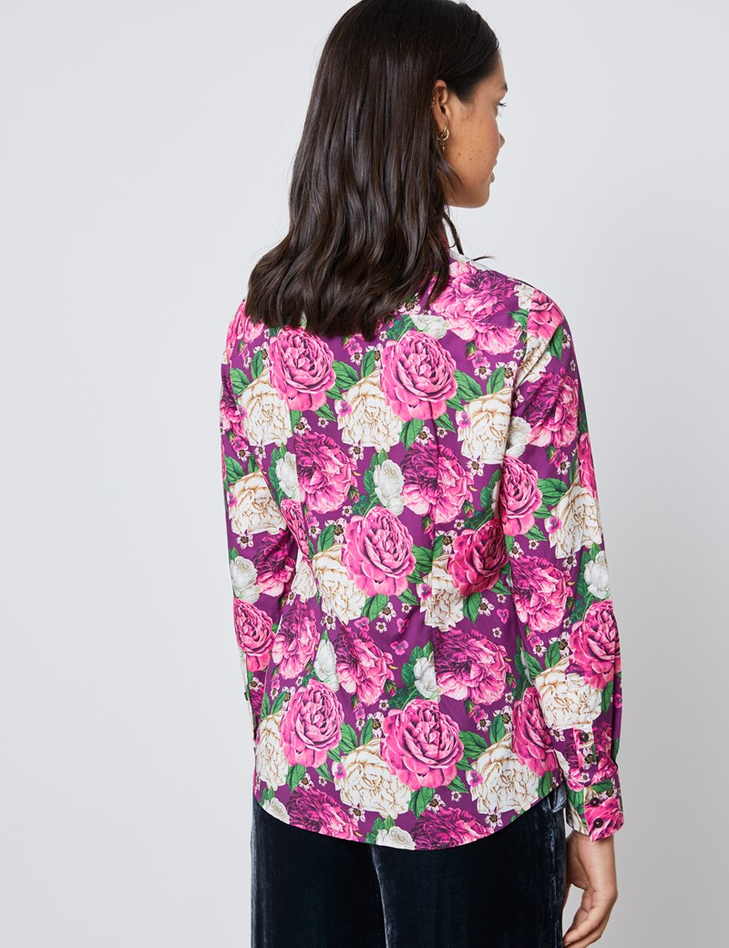 Bluse – Regular Fit – Baumwolle – Pink roses