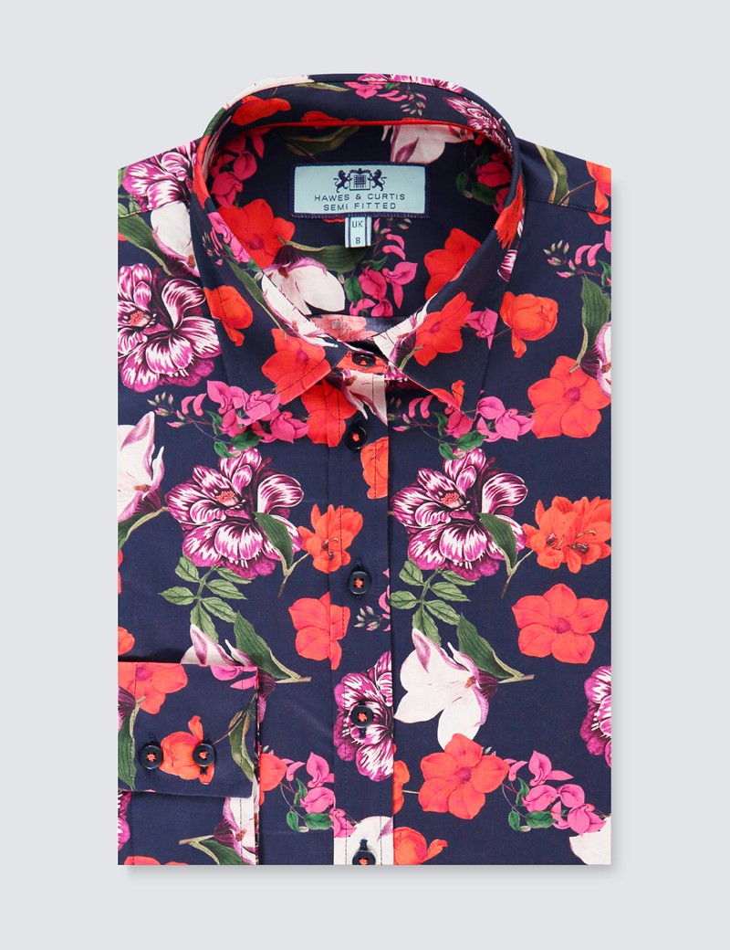 Women's Navy & Red Floral Semi Fitted Shirt - Single Cuff