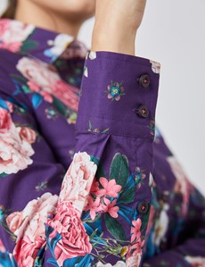 Women's Purple & Pink Floral Semi Fitted Shirt - Single Cuff
