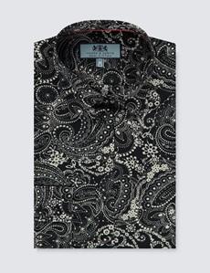Women's Black & Cream Paisley Semi Fitted Shirt - Single Cuff