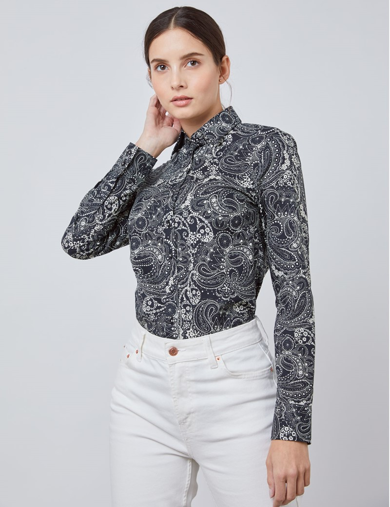 Women's Black & Cream Paisley Semi Fitted Shirt - Single Cuff