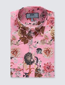 Women's Pink & Brown Floral Semi Fitted Shirt - Single Cuff
