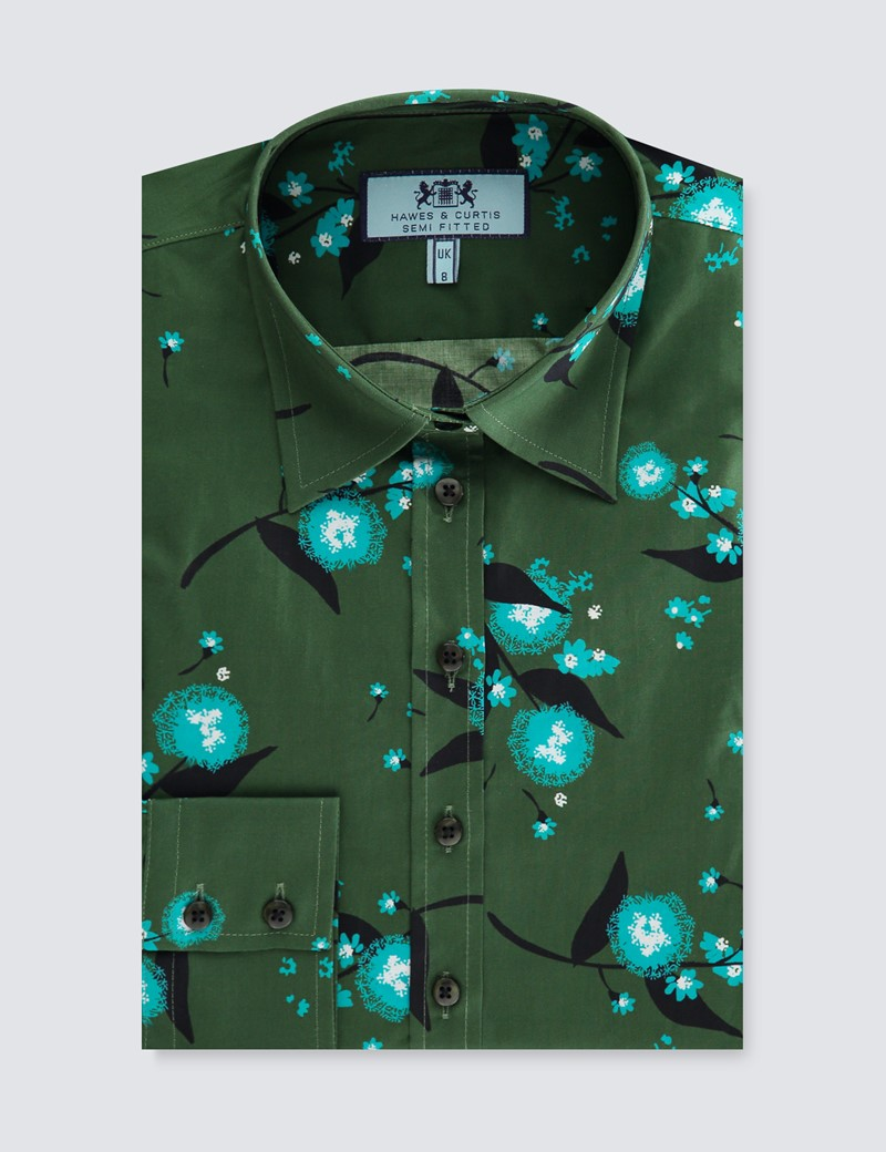 Women's Green & Blue Floral Bouquets Semi Fitted Shirt  - Single Cuff