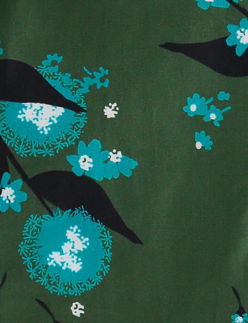 Bluse – Regular Fit – Baumwolle – grün mit blauen Blumensträußchen