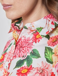 Women's White & Pink Vintage Carnations Floral Semi Fitted Shirt  - Single Cuff