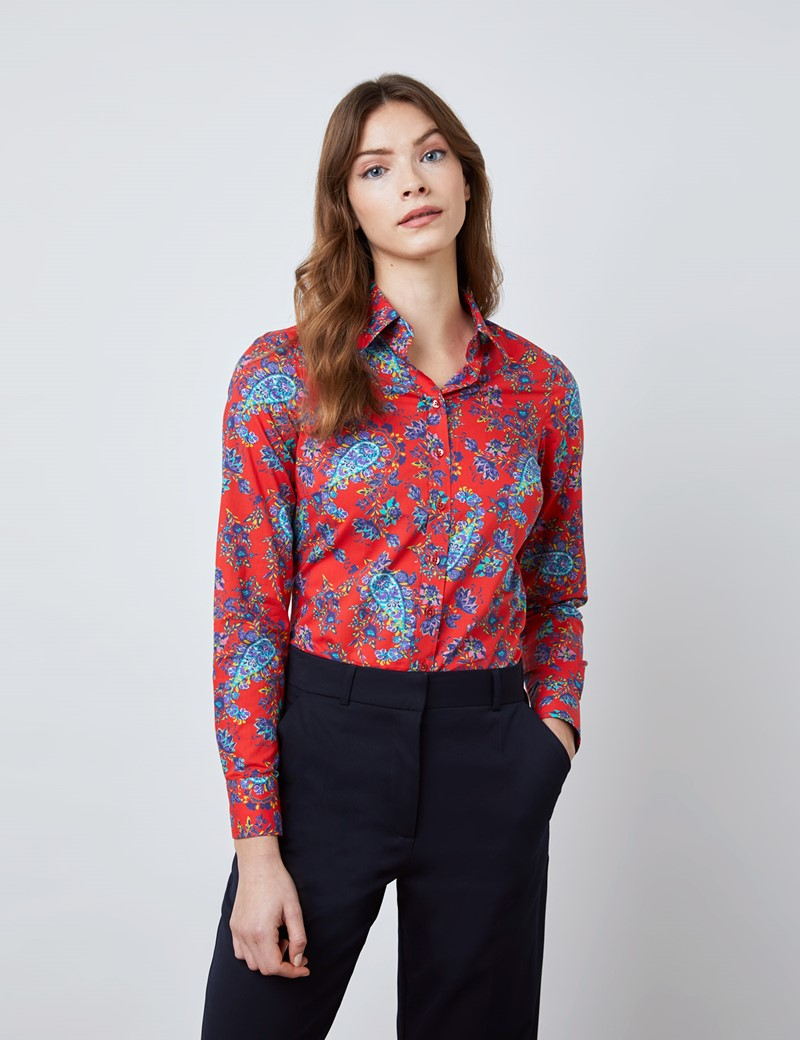 Women's Red & Navy Floral and Paisley Print Semi Fitted Shirt - Single Cuff