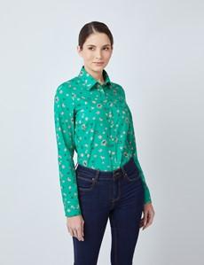 Bluse – Regular Fit – Baumwolle – grün mit Blümchen