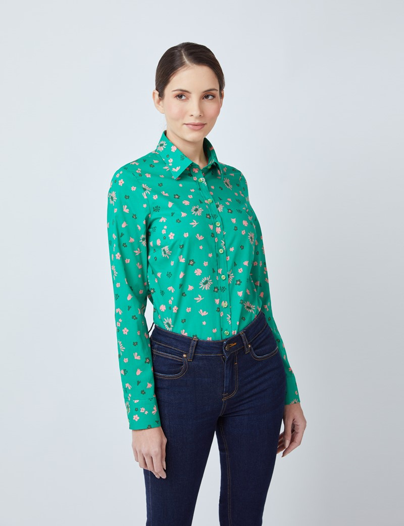 Women's Green & Pink Floral Print Semi Fitted Shirt