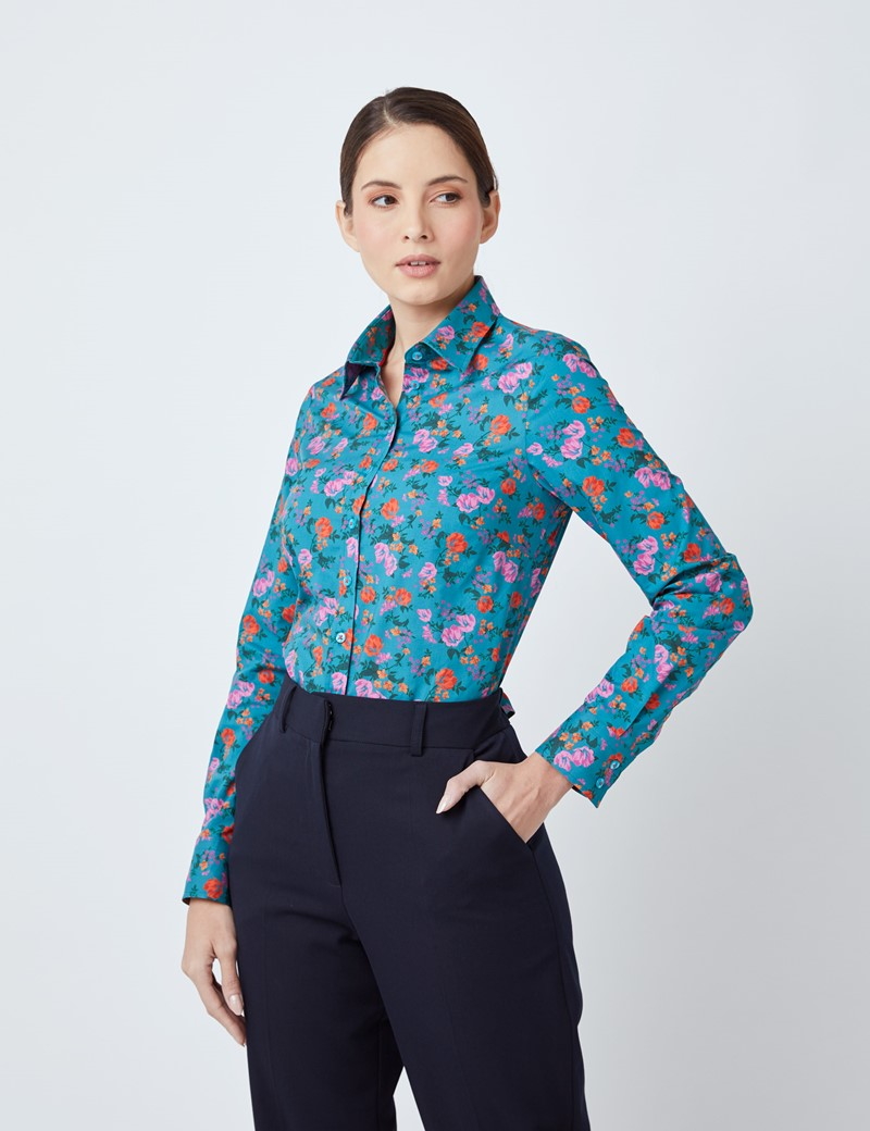 Women's Red & Pink Floral Print Semi Fitted Shirt