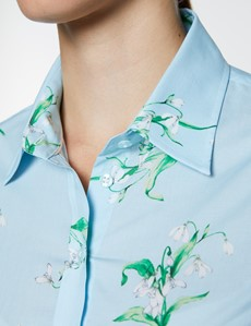 Women's Light Blue & White Floral Print Semi Fitted Shirt