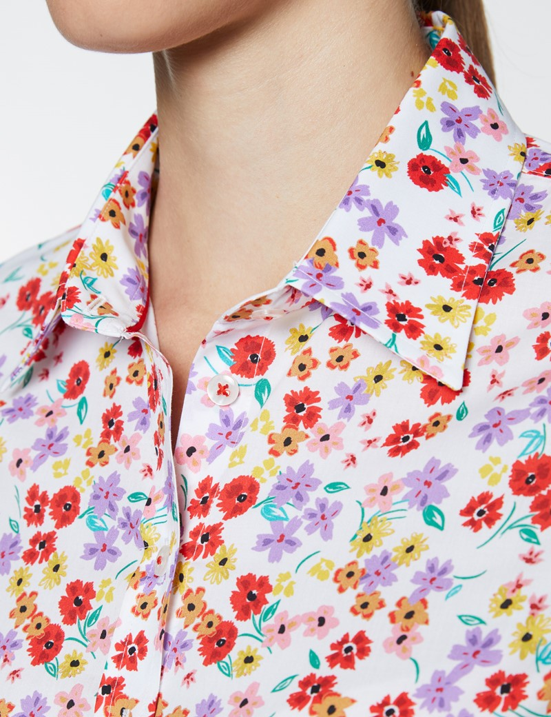 Women's White & Red Summer Floral Print Semi Fitted Shirt