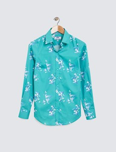 Women's Green & Blue Floral Print Semi Fitted Cotton Stretch Shirt