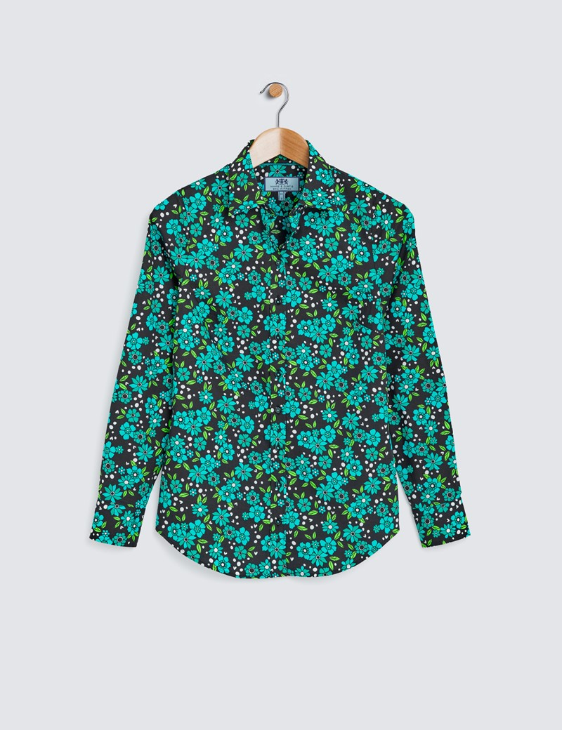 Women's Black & Green Floral Print Semi Fitted Shirt