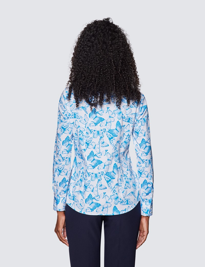 Women's White & Blue Butterfly Print Semi Fitted Cotton Stretch Shirt