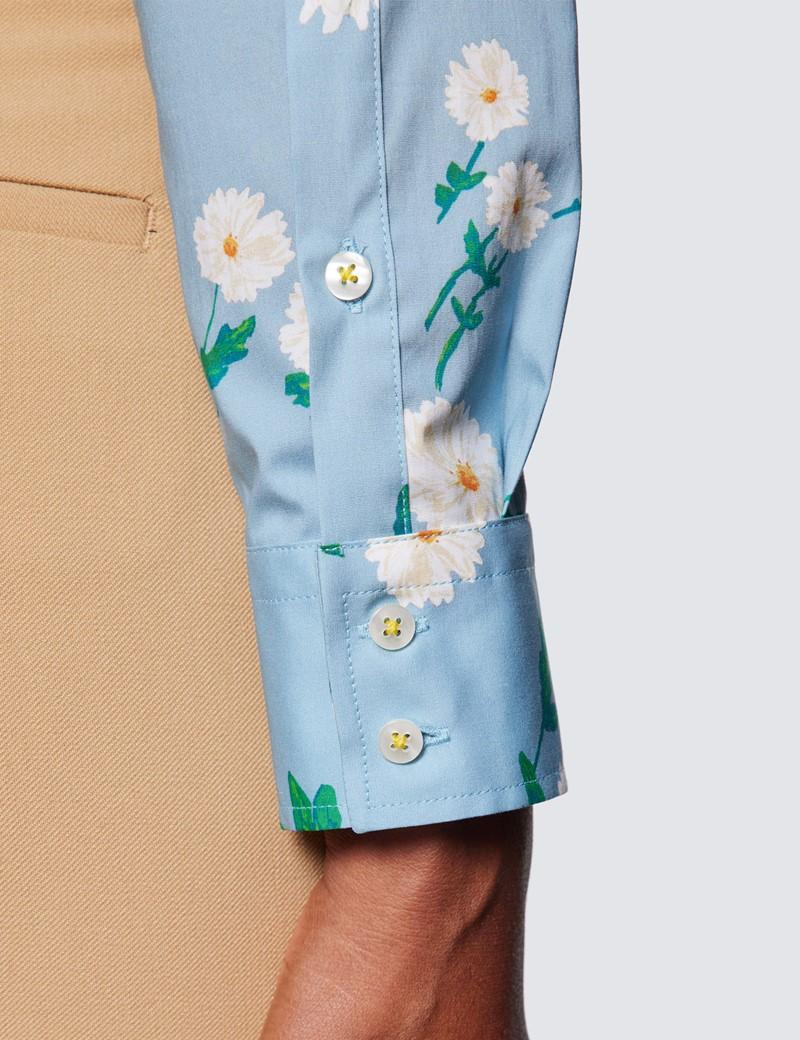 Women's Light Blue Semi Fitted Cotton Stretch Shirt