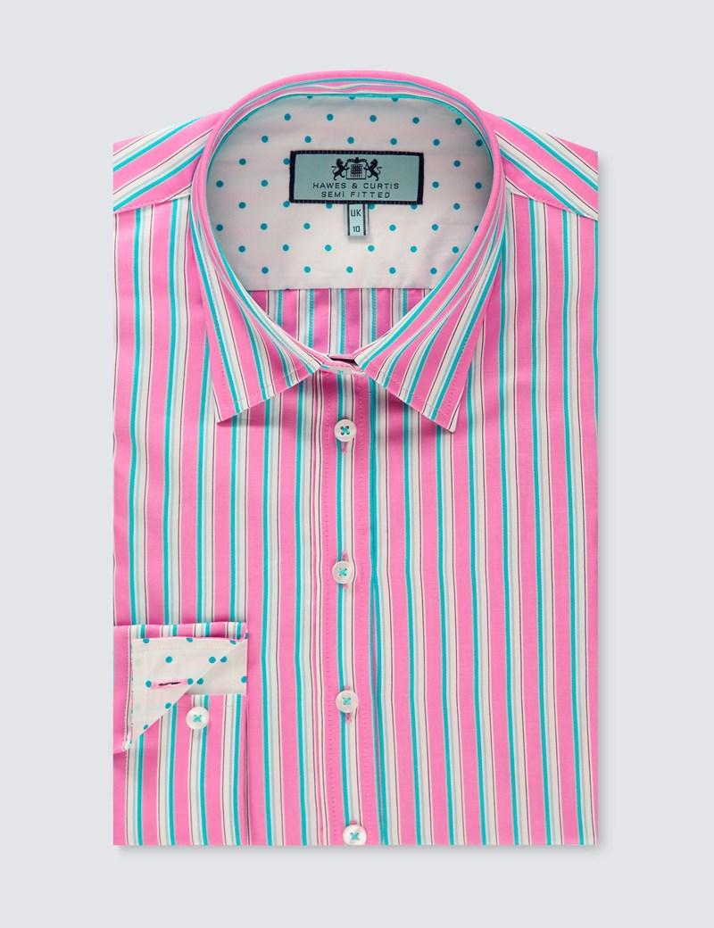 Women's Pink & Turquoise Stripe Semi-Fitted Shirt - Single Cuff