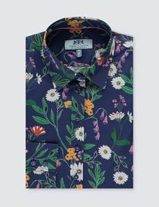 Women's Navy & Green Daisy Floral Semi Fitted Shirt - Single Cuff