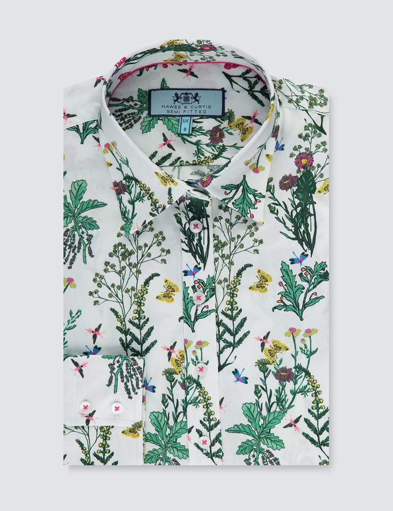 Women's White & Green Floral Semi Fitted Shirt - Single Cuff