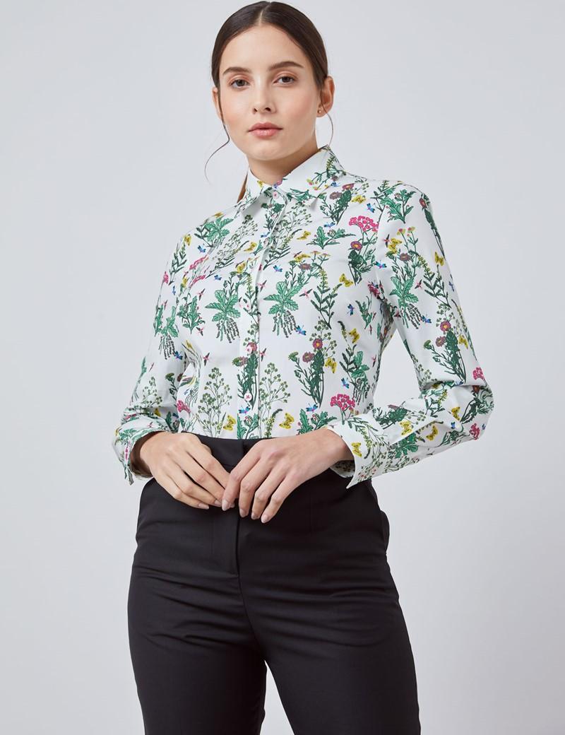Bluse – Regular Fit – Baumwollstretch – weiß mit Vintage Blumen