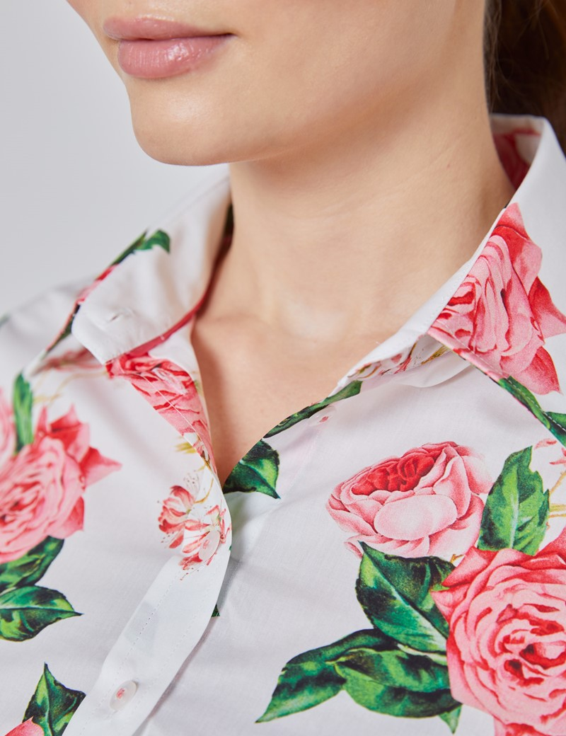 Women's White & Pink Rose Floral Print Semi Fitted Shirt - Single Cuff