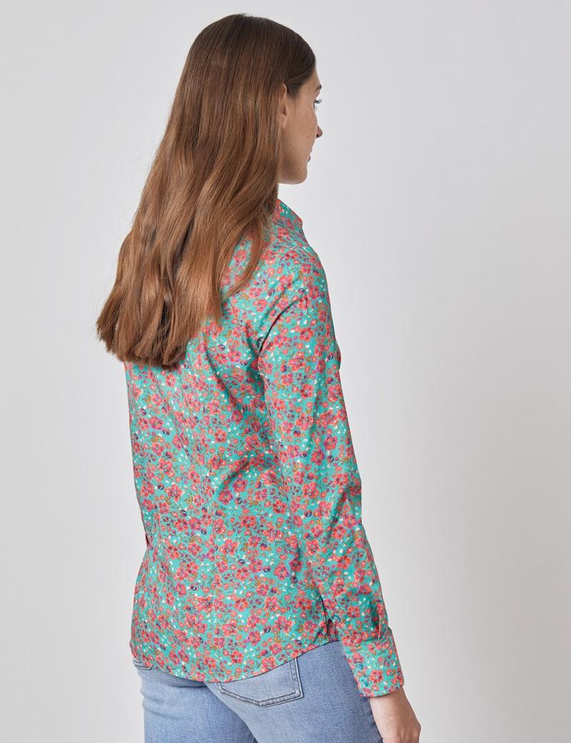 Bluse – Regular Fit – Baumwollstretch – petrol & pink Blümchen