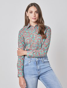 Women's Teal & Red Floral Semi Fitted Shirt - Single Cuff