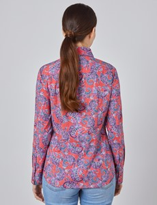 Women's Red & Pink Paisley Semi Fitted Shirt - Single Cuff