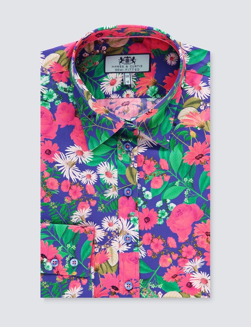 Women's Blue & Pink Multi Floral Print Semi Fitted Shirt - Single Cuff