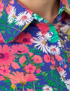 Women's Blue & Pink Multi Floral Print Semi Fitted Shirt - Single Cuff