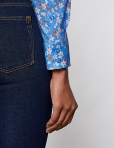 Bluse – Regular Fit – Baumwollstretch – blau weiß Blümchen