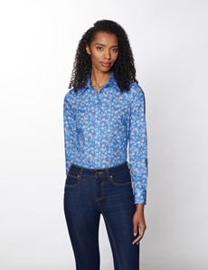 Women's Light Blue & White Floral Semi Fitted Cotton Stretch Shirt