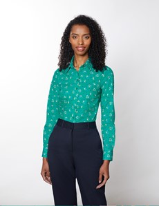 Women's Green & Yellow Floral Semi Fitted Cotton Stretch Shirt