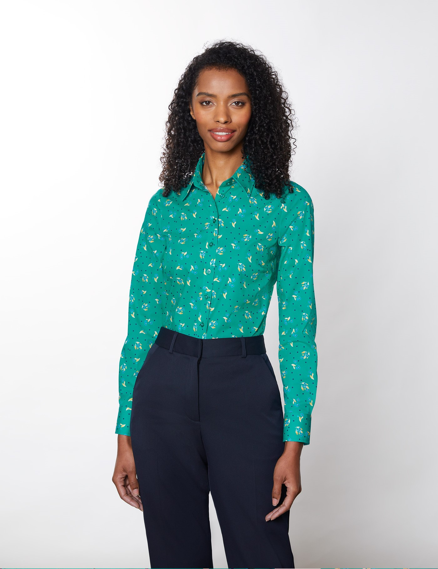 Women's Floral Semi-Fitted Cotton Stretch Shirt In Green/Yellow | Size 12 | Hawes & Curtis