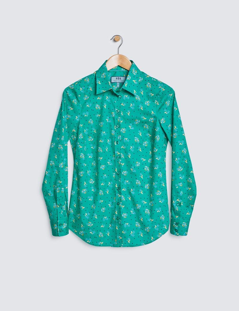 Bluse – Regular Fit – Baumwollstretch – grün gelb Blümchen