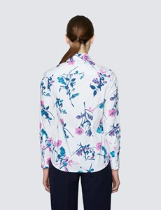 Women's White & Navy Leaf Print Semi Fitted Cotton Stretch Shirt