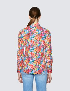 Women's Red & Pink Floral Print Semi Fitted Cotton Stretch Shirt