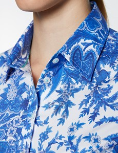 Women's Blue & White Floral Print Semi Fitted Cotton Stretch Shirt
