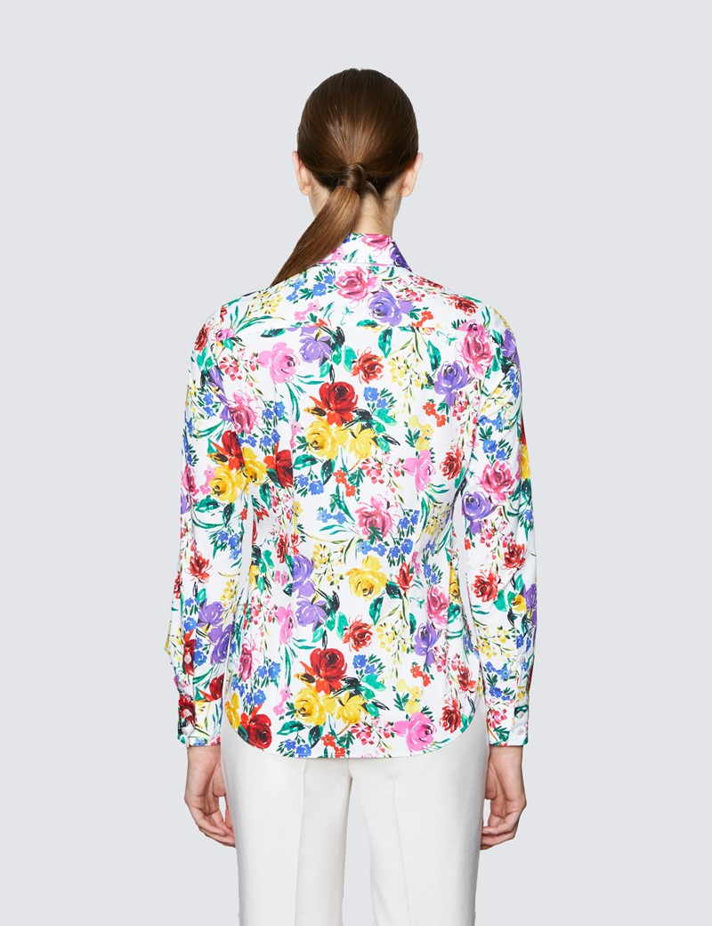 Women's White & Red Multi Colour Roses Print Semi Fitted Cotton Stretch Shirt
