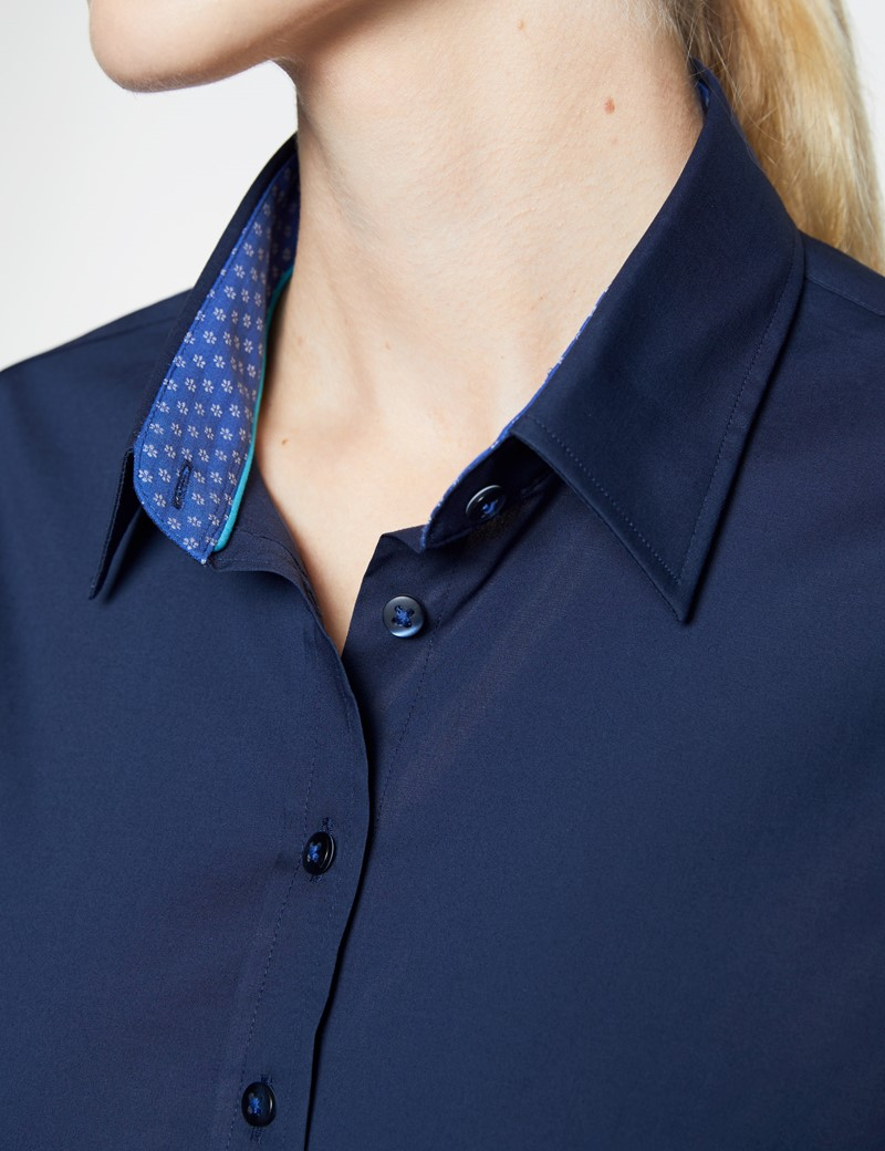 Women's Navy Semi Fitted Shirt with Contrast Detail